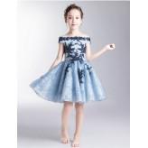 Flower girl ceremony formal dress light blue/blue 100-160cm