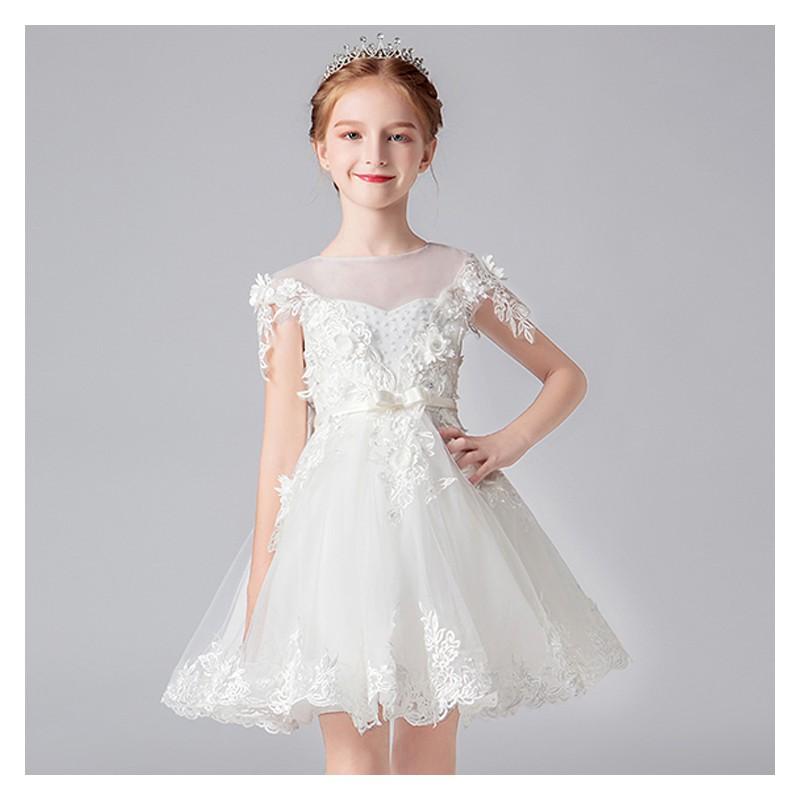 Flower girl ceremony formal dress white 100-160cm