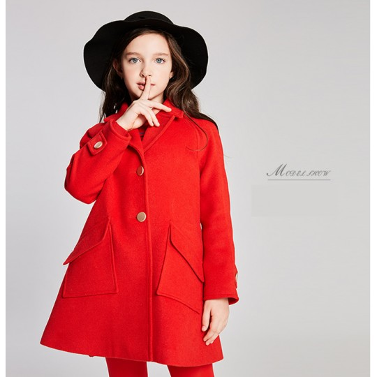 Girl christmas red coat with removable padded gilet 110-160cm