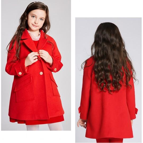Manteau rouge avec gilet rembourré amovible pour fille 110-160cm