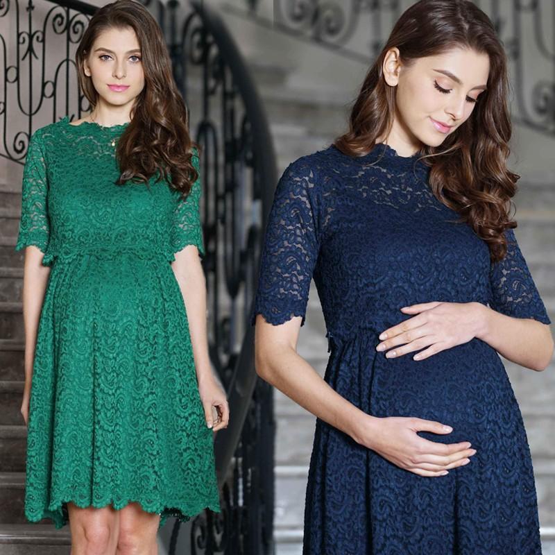 Maternity and nursing lace formal dress 2 pcs